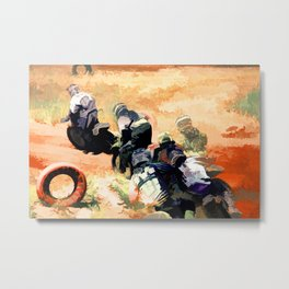 Leading the Pack  - Motocross Racers Metal Print