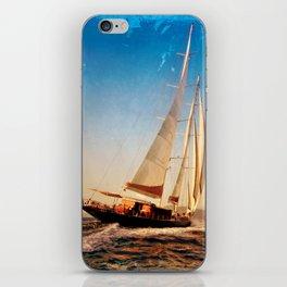sailboat in grunge background iPhone Skin