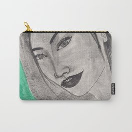 girl infront of a gre bacground Carry-All Pouch