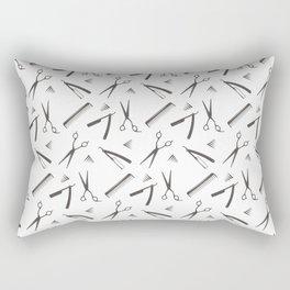 Barbershop pattern shaving razor, brushes and scissors on white Rectangular Pillow