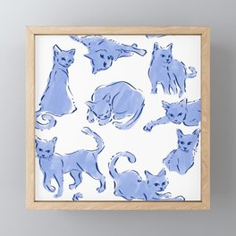 Cat Crazy blue white Framed Mini Art Print