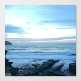 Sunset in Trebarwith Stand, Cornwall, England Canvas Print