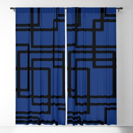 Retro Modern Black Rectangles On Deep Blue Blackout Curtain