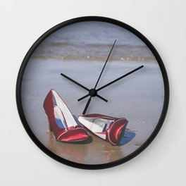 Red High-Heeled Shoes Wall Clock