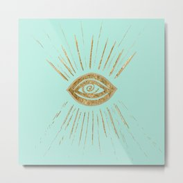 Evil Eye Gold on Mint #1 #drawing #decor #art #society6 Metal Print