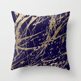 Elegant faux gold modern navy blue paint splatters Throw Pillow