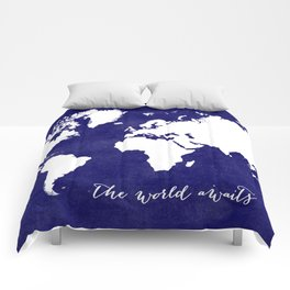 The world awaits in navy blue Comforters