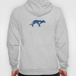 Cougar Mountain Lion Puma Big Cat Sports Mascot I Love Cougar Big Cats Blue Distressed Hoody