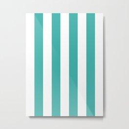 Vertical Stripes - White and Verdigris Metal Print