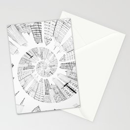 black and white city spiral digital painting Stationery Cards