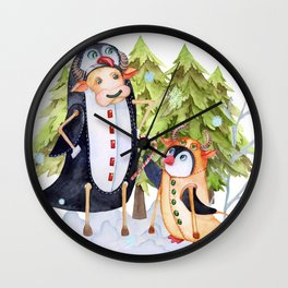 The year of the ox, the Bull and the penguin suits. Christmas card. Wall Clock
