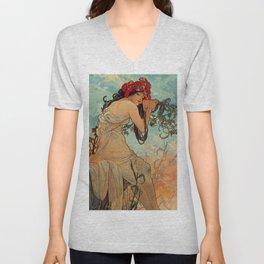 1896 SUMMER - 4 Seasons Alphonse Mucha Art Nouveau Goddess Vintage Lithograph French Unisex V-Neck