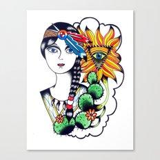 Cactus Eye Tattoo Style Canvas Print