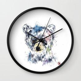 Baby Black Bear Watercolor Painting Wall Clock