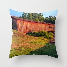 Sun Shining on Watson Mill Bridge Throw Pillow