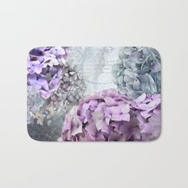 Purple Vintage Flower Hydrangea Hortensia Collage Bath Mat