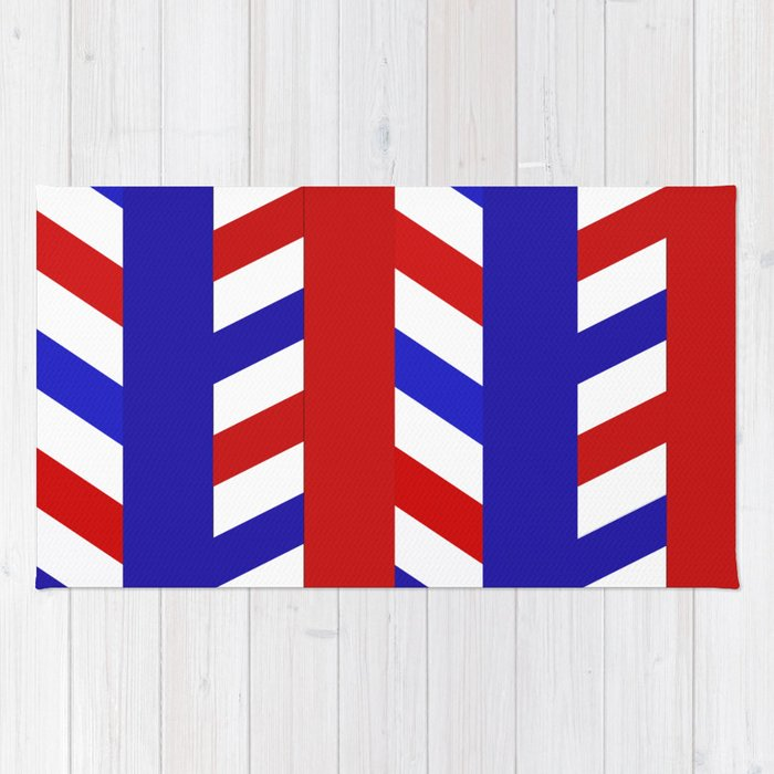 Striped Red Blue Pattern Rug