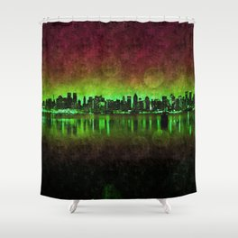 NYC Surreal Green Shower Curtain