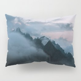 Dolomite Mountains Sunset covered in Clouds - Landscape Photography Pillow Sham