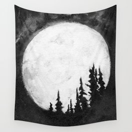 Full Moon & Trees Wall Tapestry