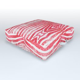Zebra Stripes | Distressed Red and White | Watercolor Animal Print Art Outdoor Floor Cushion