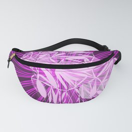 Glowing pink bird in purple chaotic lines. Fanny Pack