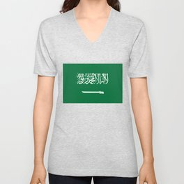 National flag of  the Kingdom of Saudi Arabia - Authentic version to scale and color Unisex V-Neck