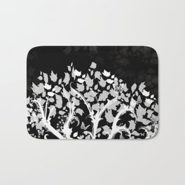 The Zen Tree - White on Black Bath Mat