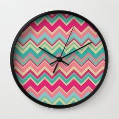 Aztec chevron pattern- pink & cream Wall Clock