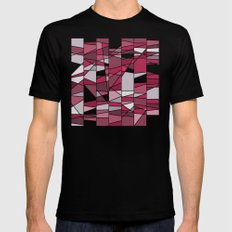 Pink and grey MEDIUM Black Mens Fitted Tee