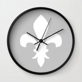 Fleur de Lis (White & Gray) Wall Clock