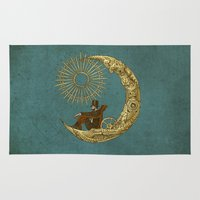 steampunk Area & Throw Rugs featuring Moon Travel by Eric Fan