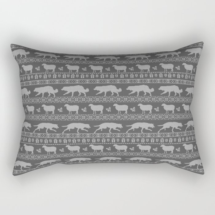 Ugly christmas sweater | Border collie grey Rectangular Pillow