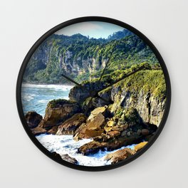 Coastal View in Punakaiki Wall Clock