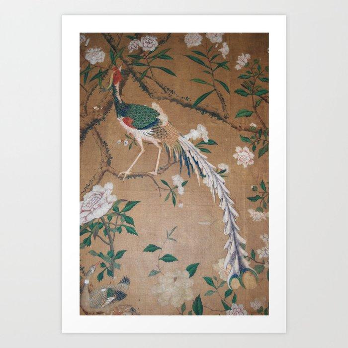 Antique French Chinoiserie in Tan & White Kunstdrucke