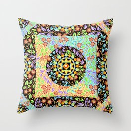 Filigree Floral Patchwork (printed) Throw Pillow