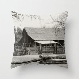 Old Barn and Rail Fence Throw Pillow