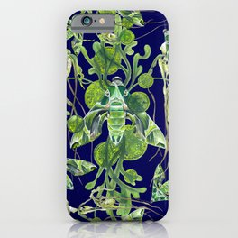 Evergreen Hawk Moth on seaweed, algae, and orchids iPhone Case