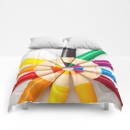 Rainbow Pencils (Color) Comforters