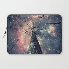 Wintry Trees Galaxy Skies Laptop Sleeve