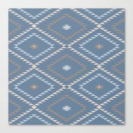 Navajo Pattern - Denim / Nude Canvas Print