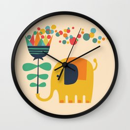 Elephant with giant flower Wall Clock