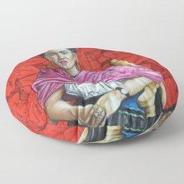 Frida Kahlo with Poinsettias Floor Pillow