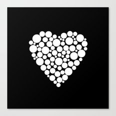 Simple black and white pattern .heart black polka dots .  2 Canvas Print