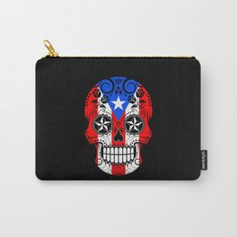 Sugar Skull with Roses and Flag of Puerto Rico Carry-All Pouch
