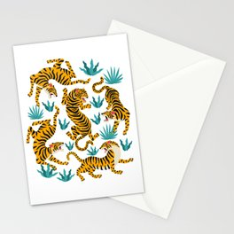 Tigers and tropical leaves. Stationery Cards
