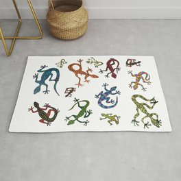 Lizards in Various Colors and Shapes Rug