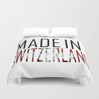 switzerland Duvet Covers featuring Made In Switzerland by VirgoSpice