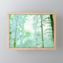 Magical forest in frosty greens Framed Mini Art Print