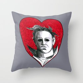 Micheal Myers (All Heart) Throw Pillow